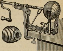 19th century drawing of a Goodell Apple Peeler