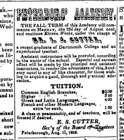 Newspaper advertisement for the Peterborough Academy