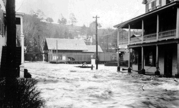 F is for Flood of 1936 - Flood waters on School Street in Peterborough