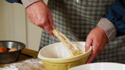 Beating the eggs with a birch whisk
