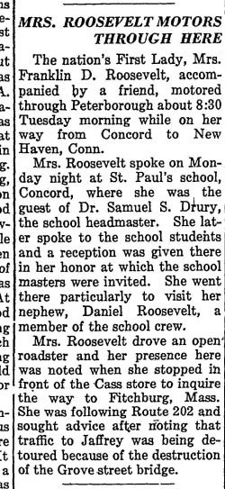 Newsclipping reporting Mrs. Roosevelt's stop in Peterborough