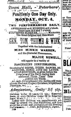 Advertisement for Tom Thumb performance
