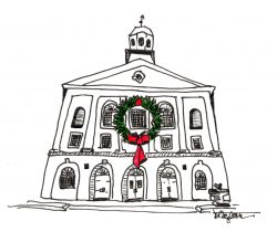 Town House with Wreath Pen and Ink Drawing