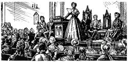 Etching of a Woman Speaking at the Seneca Falls Convention
